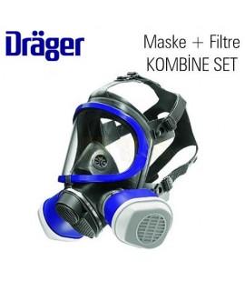 Drager 5500 Tam Yüz Gaz Maskesi + ABEK1 Filtreli Kombine Set